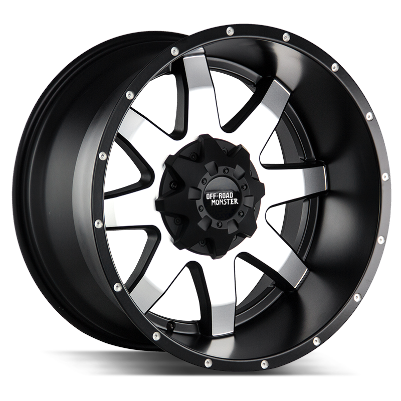 The M08 Wheel by Off Road Monster in Black Machined