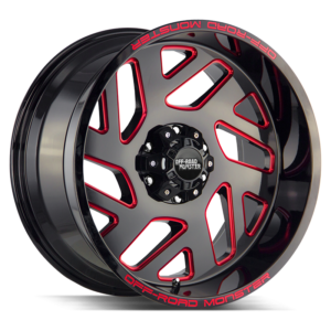 The M19 Wheel by Off Road Monster in Gloss Black Candy Red Milled