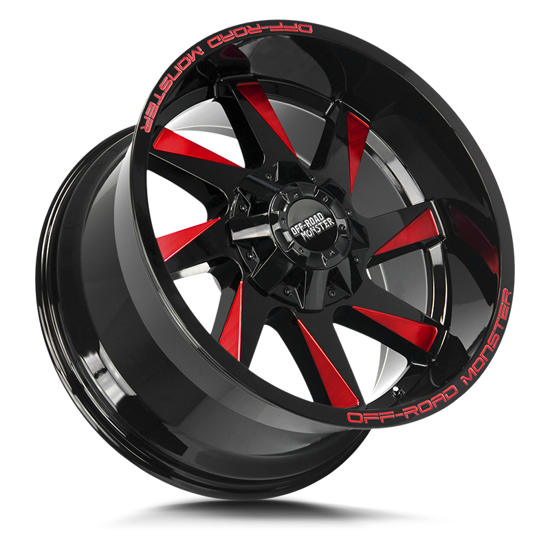 The M80 Wheel by Off Road Monster in Gloss Black Candy Red Milled