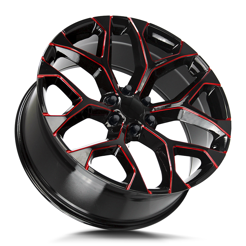 The Snowflake Wheel by Strada OE Replica in Gloss Black Candy Red Milled
