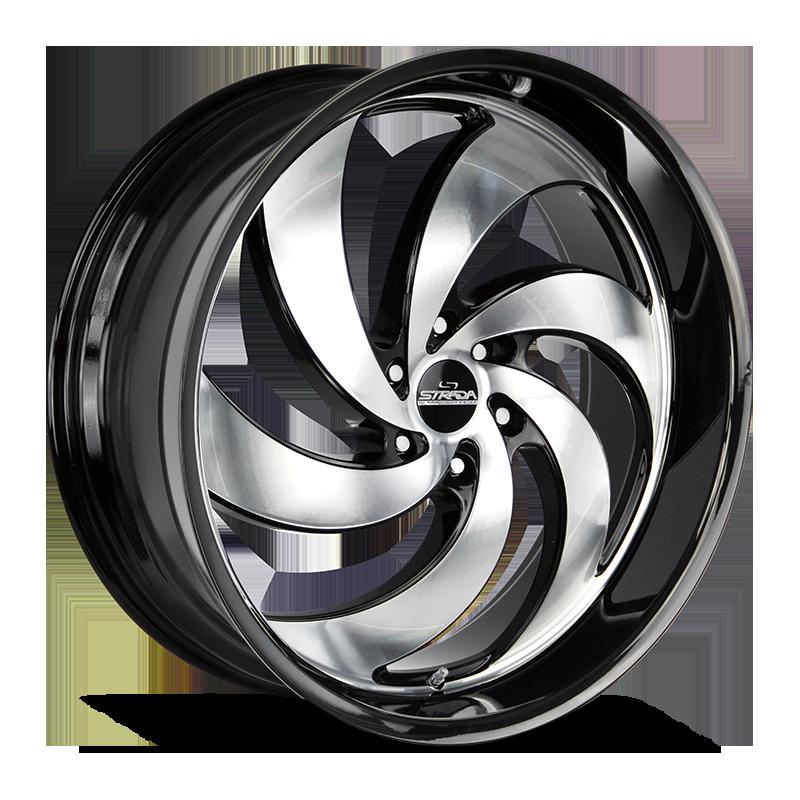 The Retro 6 Wheel by Strada Street Classics in Gloss Black Machined