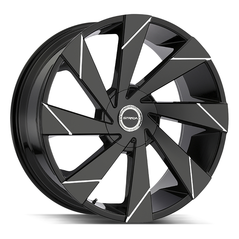 The Moto Wheel by Strada in Gloss Black Milled Line
