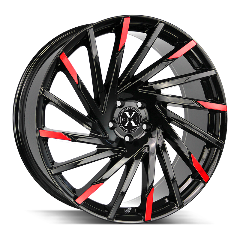 The X02 Wheel by Xcess in Gloss Black Machined Red Tips