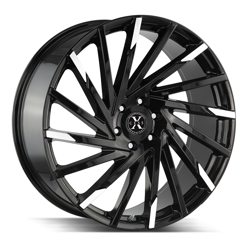 The X02 Wheel by Xcess in Gloss Black Machined Tips