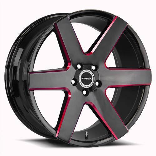 Strada Coda Gloss Black Milled Edge Spoke Red