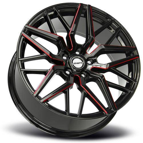 SHIFT SPRING 20 INCH GLOSS BLACK MILLED RED LAY