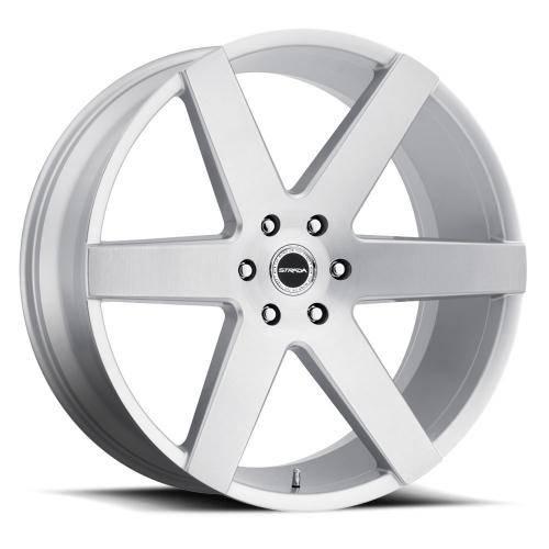 Strada coda wheel 6lug silver brushed face 24x10
