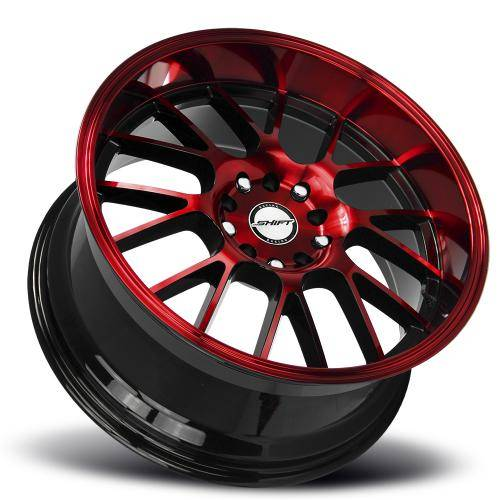 shift crank gloss black candy red machined lay