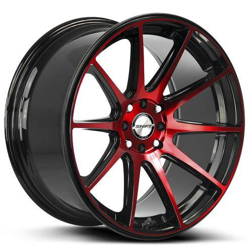shift gear gloss black machined red 1000x1000