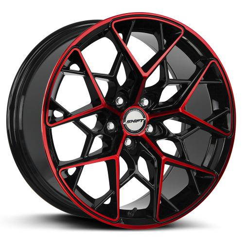 shift piston gloss black machined red 18 inch