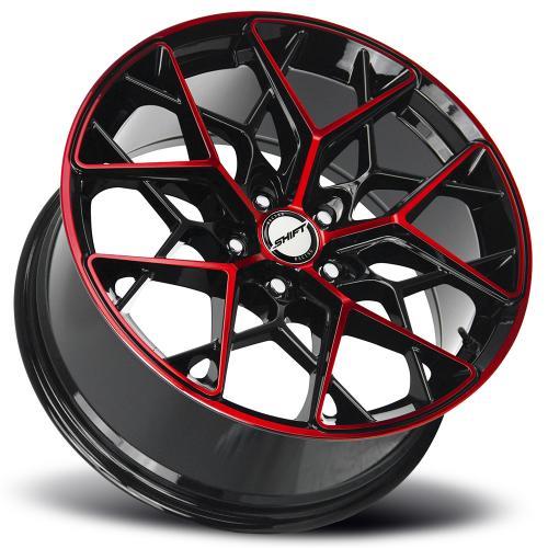 shift piston gloss black machined red 18 inch lay