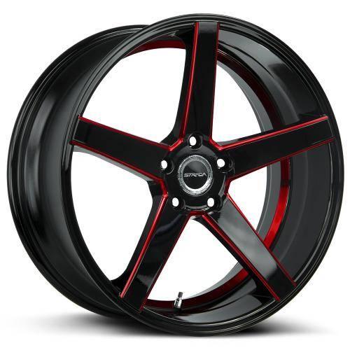 strada perfetto 22 inch 5 lug black milled red